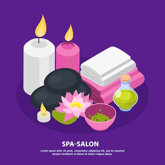 Fond isométrique de salon de spa