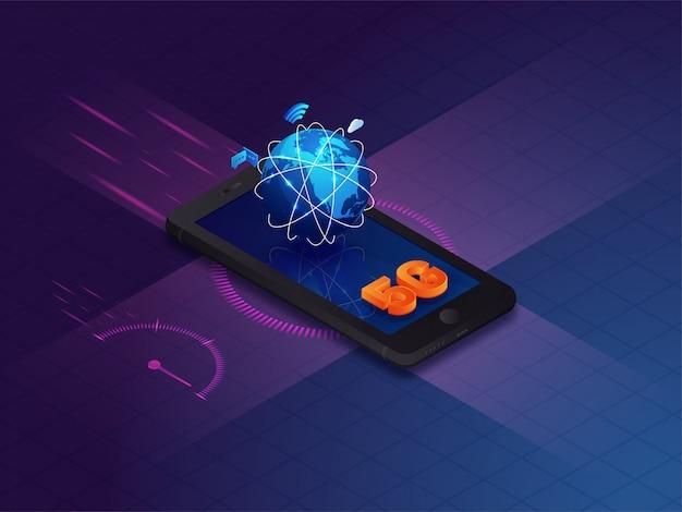 Fond isométrique avec téléphone intelligent, globe et texte 5g.