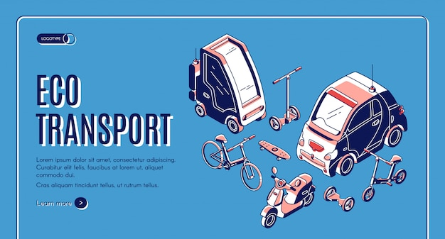 Fond isométrique de transport écologique