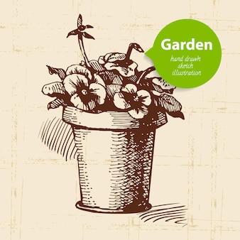 Fond de jardin de croquis vintage. conception dessinée à la main
