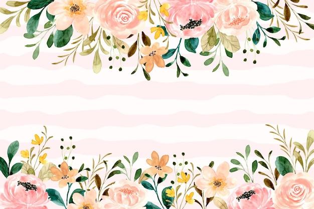Fond de jardin fleuri rose avec aquarelle