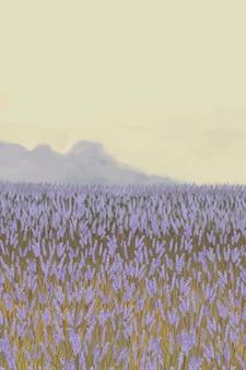 Fond de jardin de lavande en fleurs