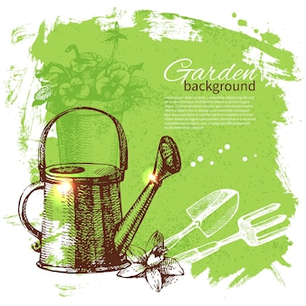 Fond de jardinage de croquis vintage. conception dessinée à la main