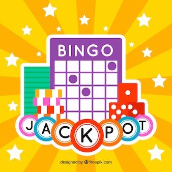Fond jaune avec balle et dés de bingo