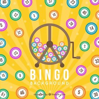 Fond jaune avec des balles de bingo