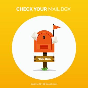 Fond jaune de boîte aux lettres avec des enveloppes