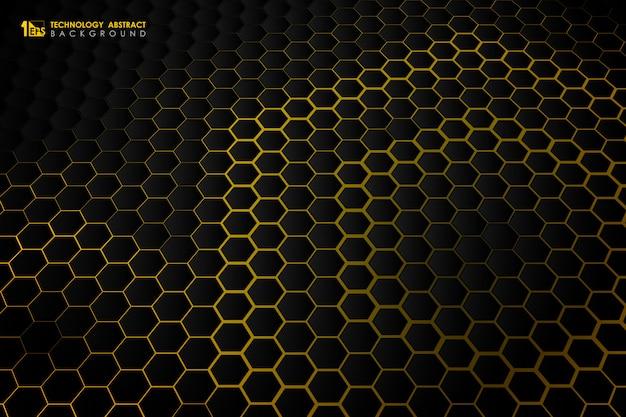 Fond jaune dégradé abstraite technologie futuriste hexagonale