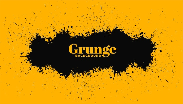 Fond jaune avec des éclaboussures de grunge noir