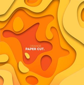 Fond jaune avec des formes découpées en papier. illustration. art de sculpture abstraite 3d.