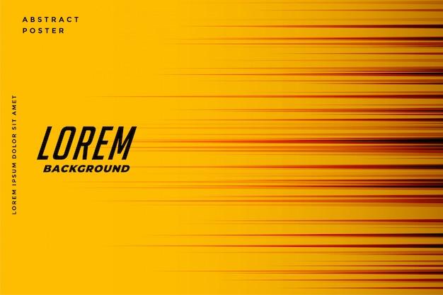 Fond jaune avec lignes de vitesse de mouvement