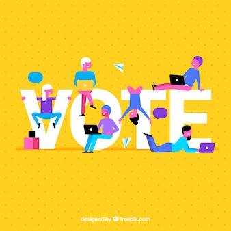 Fond jaune avec mot de vote