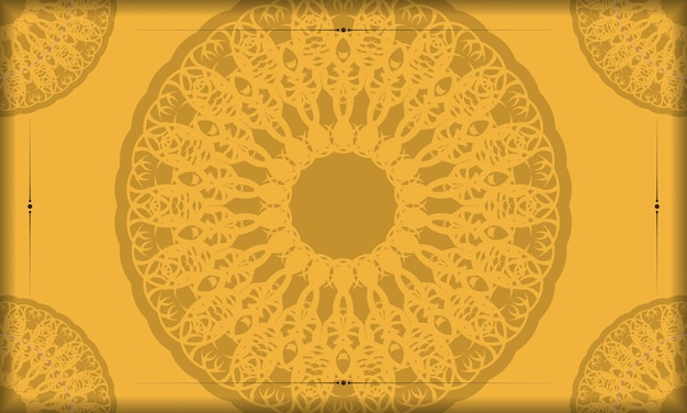 Fond en jaune avec motif marron abstrait et espace pour le texte