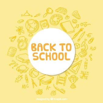 Fond jaune pour retourner à l'école