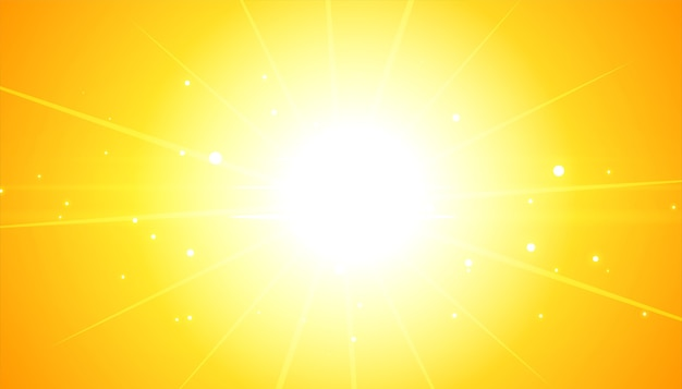 Fond jaune avec des rayons lumineux flare