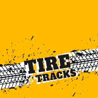 Fond jaune avec traces de pneus grunge