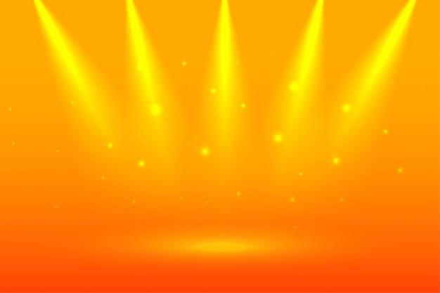Fond jaune vif avec projecteurs de mise au point