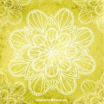 Fond jaune de yoga avec des fleurs
