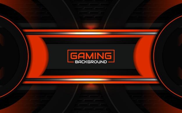 Fond de jeu abstrait futuriste noir et orange clair