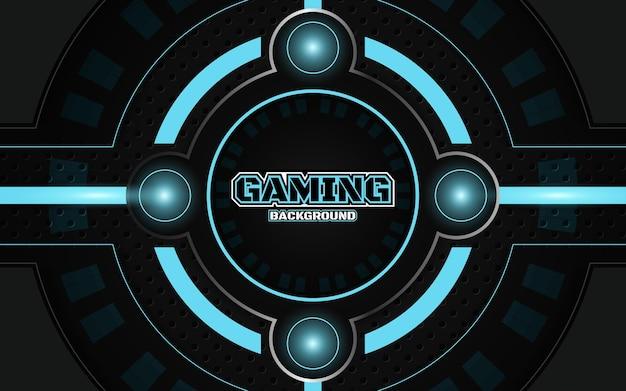 Fond de jeu abstrait noir et bleu futuriste