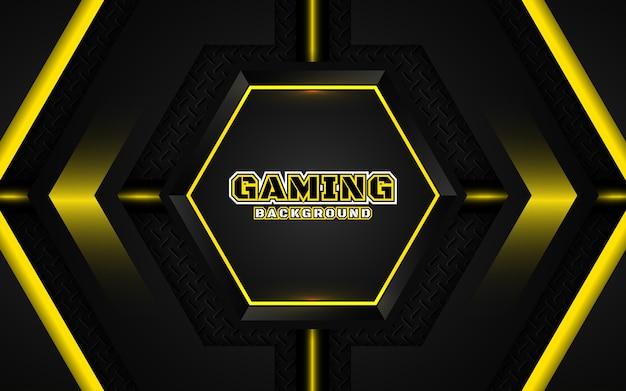 Fond de jeu abstrait noir et jaune futuriste