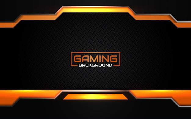 Fond de jeu abstrait noir et orange futuriste