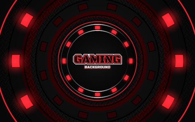 Fond de jeu abstrait noir et rouge futuriste