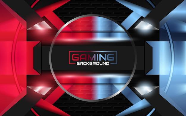 Fond de jeu abstrait rouge et bleu clair futuriste