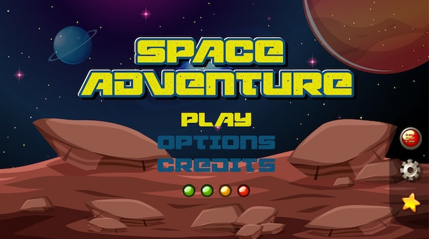 Fond de jeu d'aventure spatiale