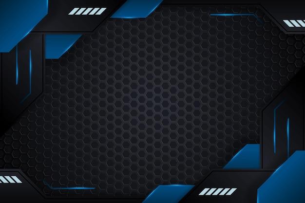 Fond de jeu avec dégradé bleu et lignes d'éclairage vector design