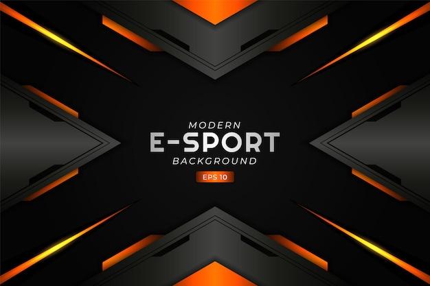 Fond de jeu e-sport moderne flèche rougeoyante orange futuriste technologie premium
