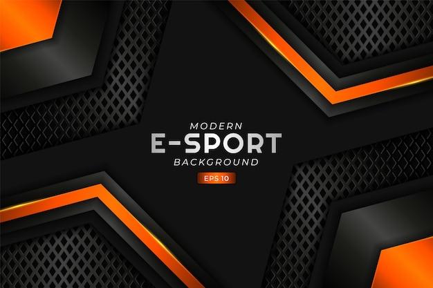Fond de jeu e-sport moderne réaliste rougeoyant orange technologie premium futuriste hexagonal