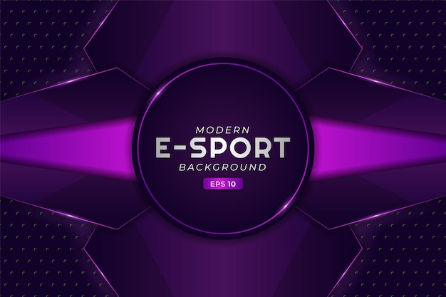 Fond de jeu e-sport moderne, technologie de streaming futuriste violet brillant