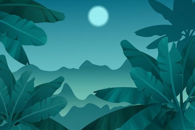 Fond de jeu jungle tropicale de nuit.
