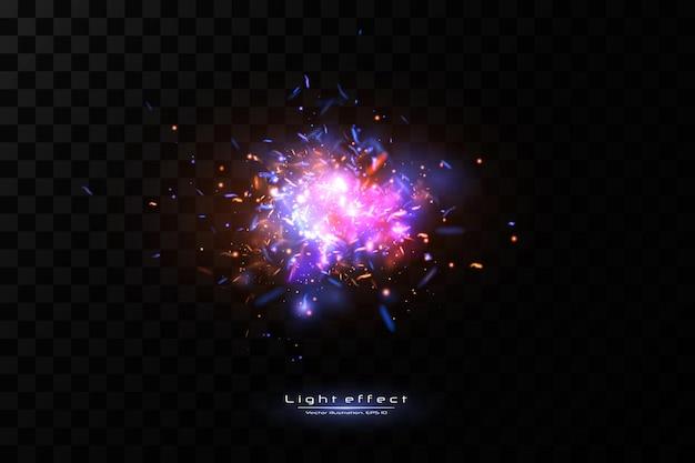 Fond de jeu de lumière abstrait. étincelles de néon de l'espace.