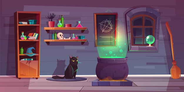 Fond de jeu de maison de sorcière