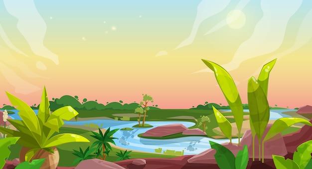 Fond de jeu de paysage nature dessin animé