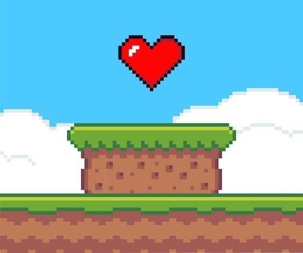 Fond de jeu pixel art avec coeur dans le ciel