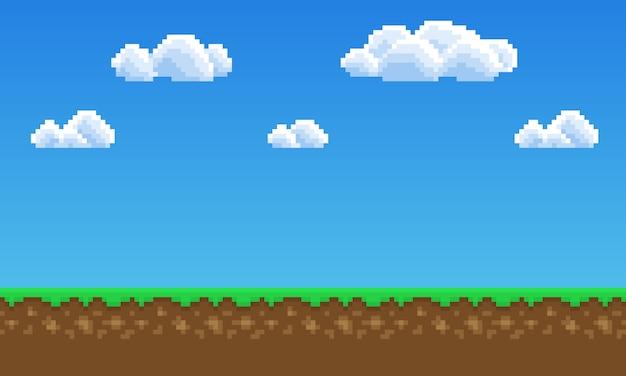 Fond de jeu pixel art, herbe, ciel et nuages