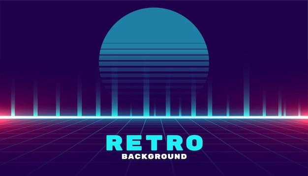 Fond de jeu rétro cyber futuriste style néon