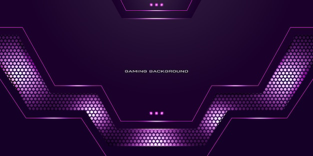 Fond de jeu violet néon avec motif hexagonal