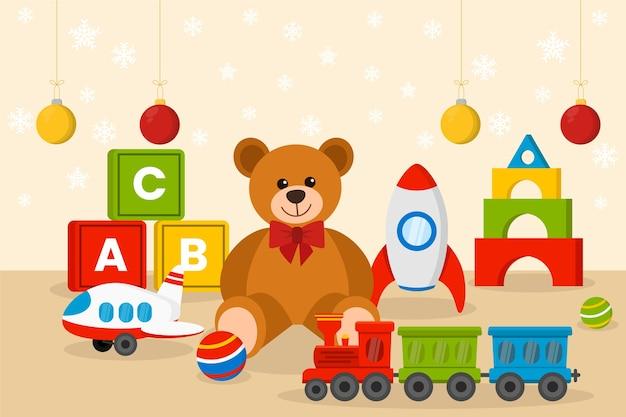 Fond de jouets de noël au design plat