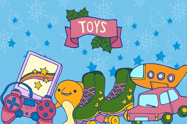 Fond de jouets de noël dessinés à la main