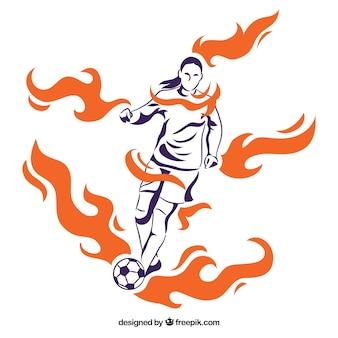 Fond de joueur de football dans un style abstrait