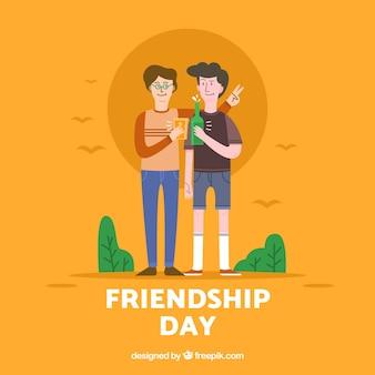 Fond de jour de l'amitié avec couple plat