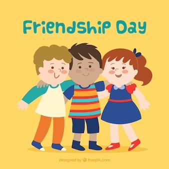Fond de jour de l'amitié avec des enfants heureux