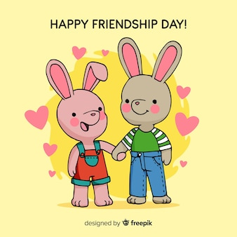 Fond de jour de l'amitié lapins dessinés à la main