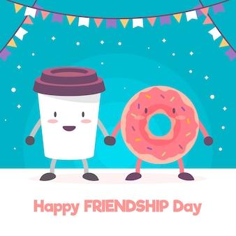 Fond de jour de l'amitié avec de la nourriture de dessin animé mignon