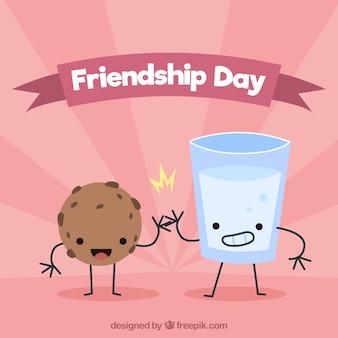 Fond de jour de l'amitié avec de la nourriture mignonne