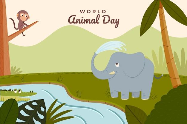 Fond de jour des animaux du monde plat dessiné à la main