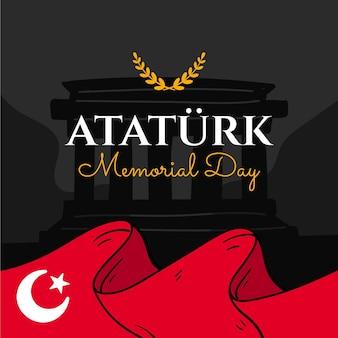 Fond de jour commémoratif ataturk dessinés à la main à la main